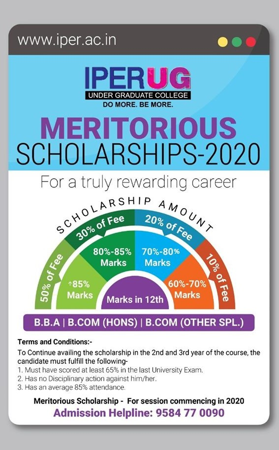 IPER UG Fee - Meritorious Scholarships
