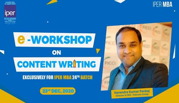 Content Writing eWorkshop at IPER MBA – 29th Dec, 2020