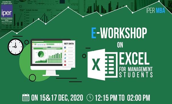 MS Excel e-Workshop at IPER MBA – 15th Dec, 2020